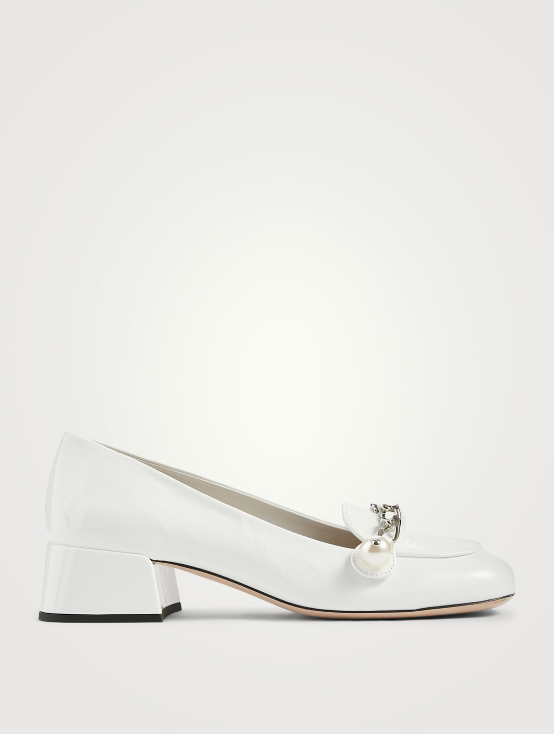 MIU MIU Patent Leather Heeled Loafers With Chain Strap Women's White
