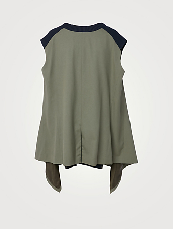 SACAI Knit Suiting Sleeveless Top Women's Blue