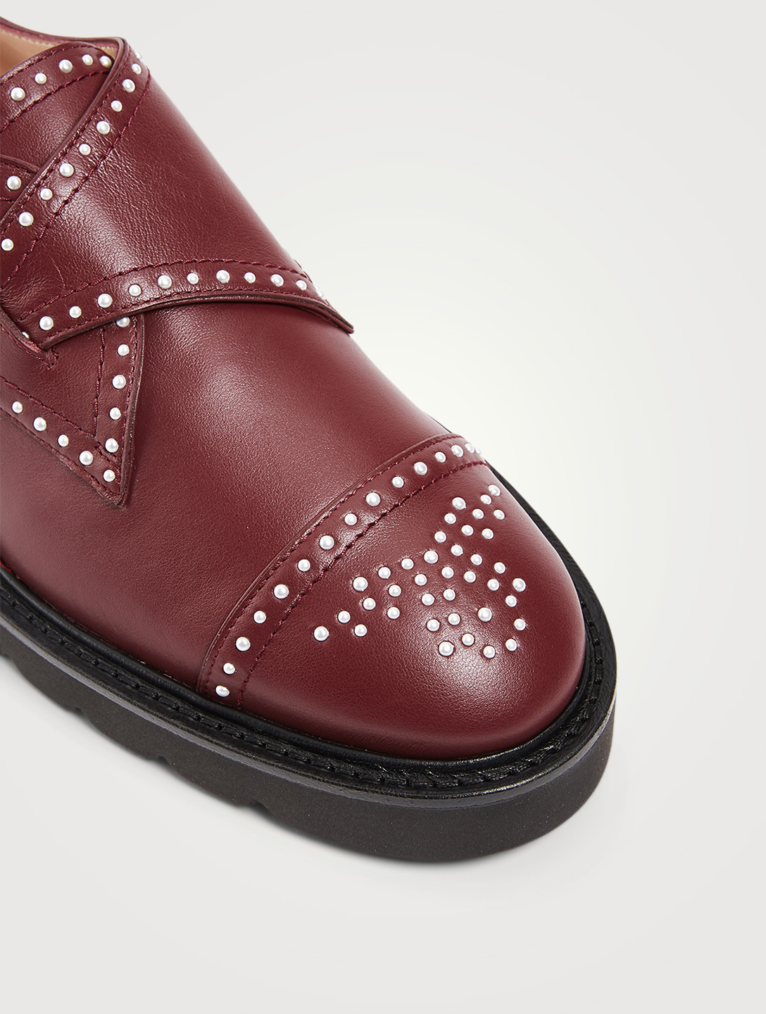 STUART WEITZMAN Jackson Lift Leather Shoes With Pearl Studs Women's Red