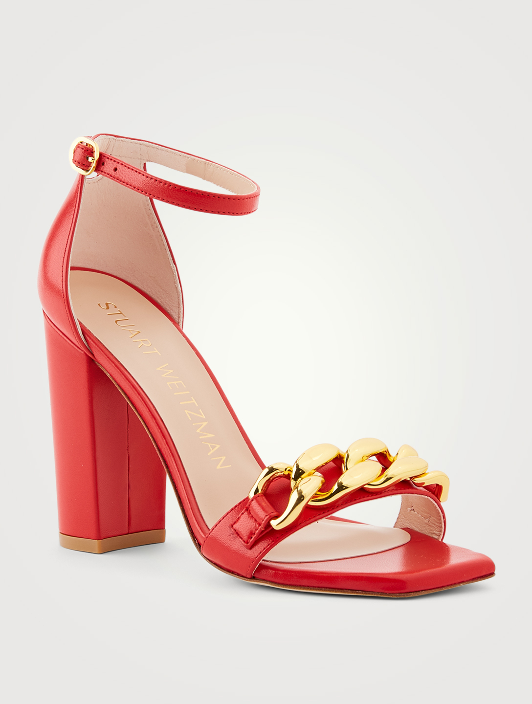 STUART WEITZMAN Amelina Block 100 Chain Leather Heeled Sandals Women's Red