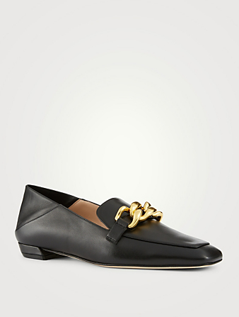 STUART WEITZMAN Mickee Leather Loafers With Chain Women's Black