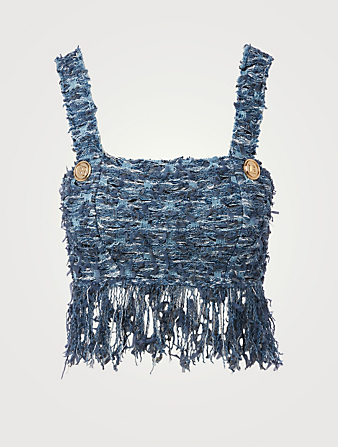 BALMAIN Tweed Fringe Crop Top Women's Blue