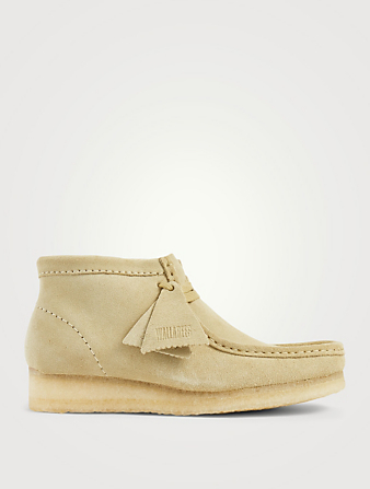CLARKS ORIGINALS Wallabee Suede Lace-Up Ankle Boots Women's Beige