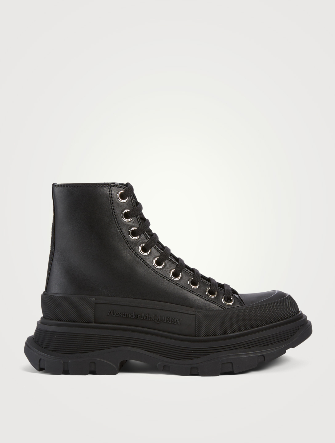 ALEXANDER MCQUEEN Tread Slick Leather Platform High-Top Sneakers Women's Black