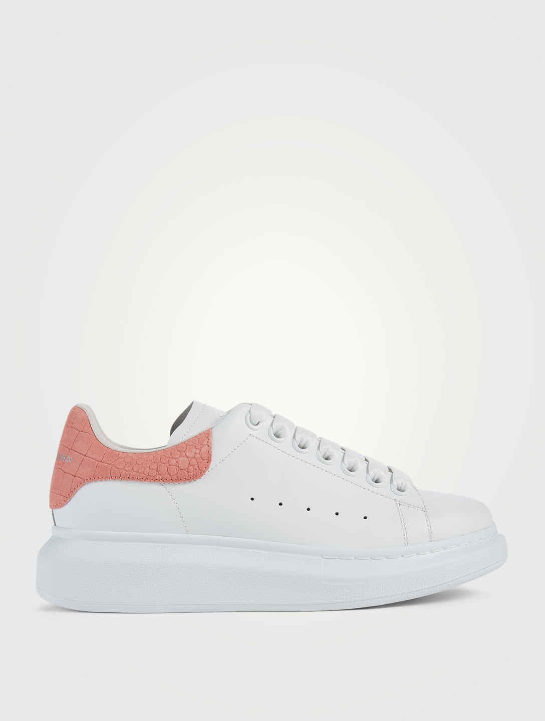 ALEXANDER MCQUEEN Oversized Leather Sneakers With Croc-Embossed Patch Women's Pink