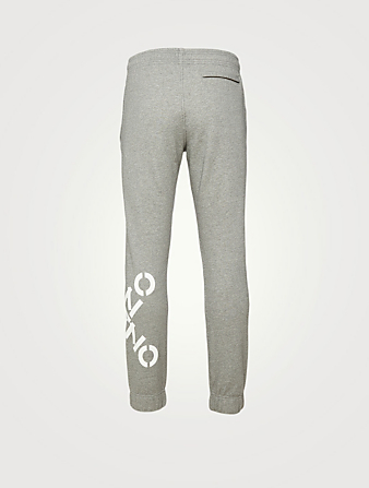 KENZO Cotton-Blend Jogger Pants With Logo Men's Grey