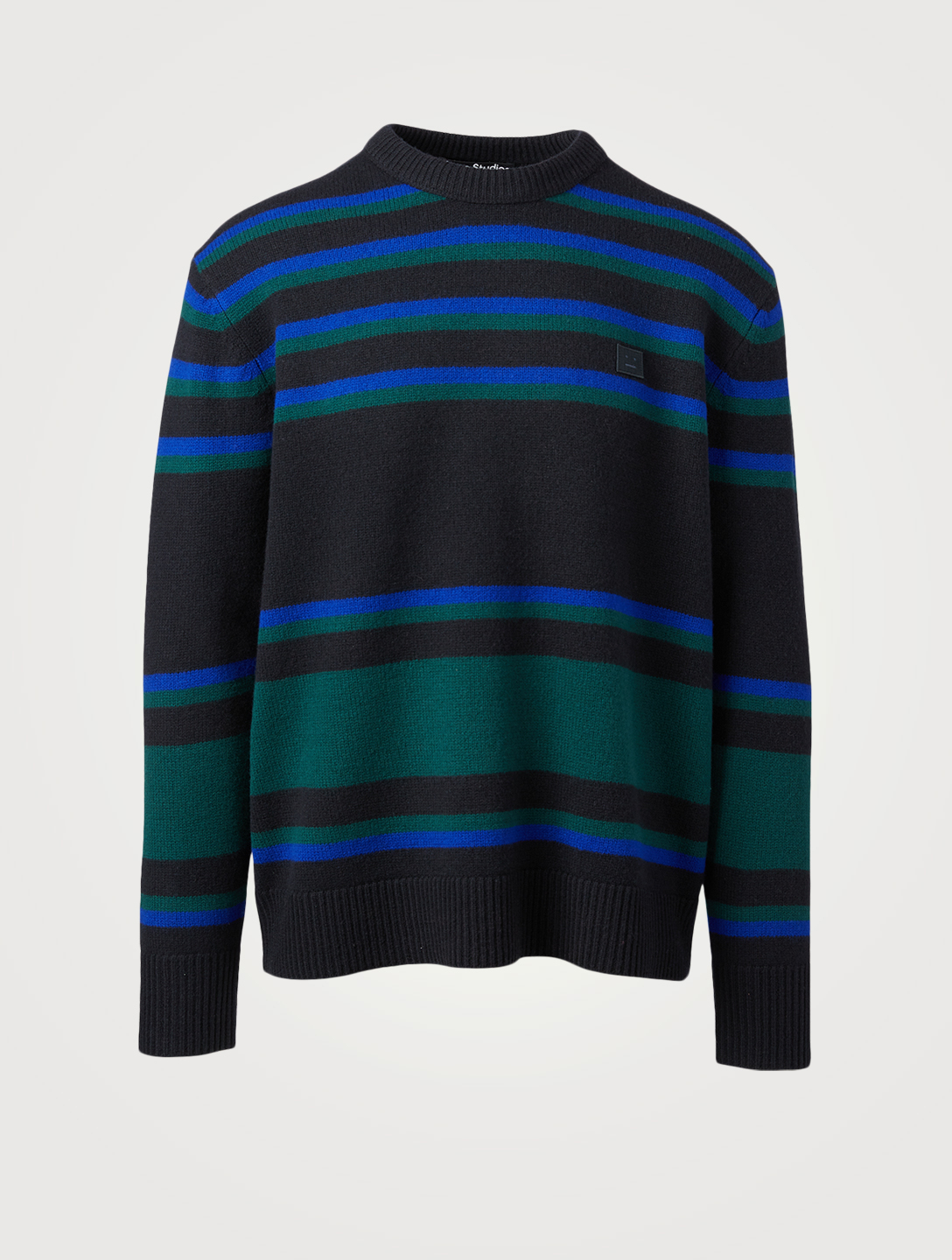 ACNE STUDIOS Wool Crewneck Sweater In Striped Print Men's Blue
