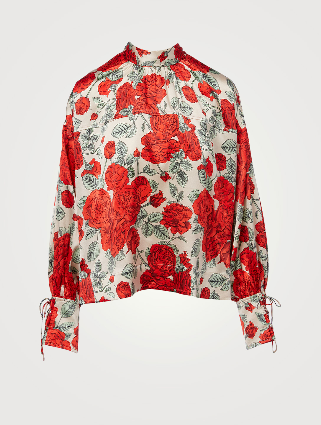 GANNI Silk Stretch Satin Neck-Tie Oversized Blouse In Floral Print Women's Red