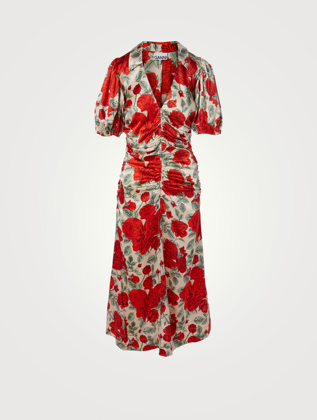 GANNI Silk Stretch Satin Ruched Midi Dress In Floral Print Women's Red