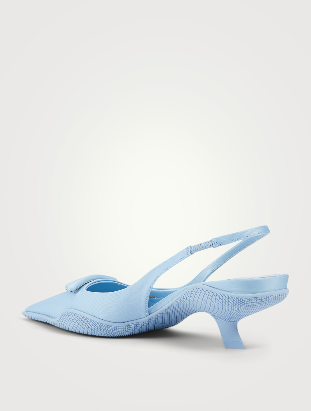 PRADA Nylon Slingback Pumps With Triangle Logo Women's Blue