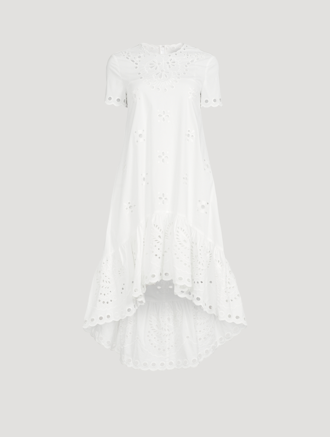 RED VALENTINO Short-Sleeve Embroidered Midi Dress Women's White