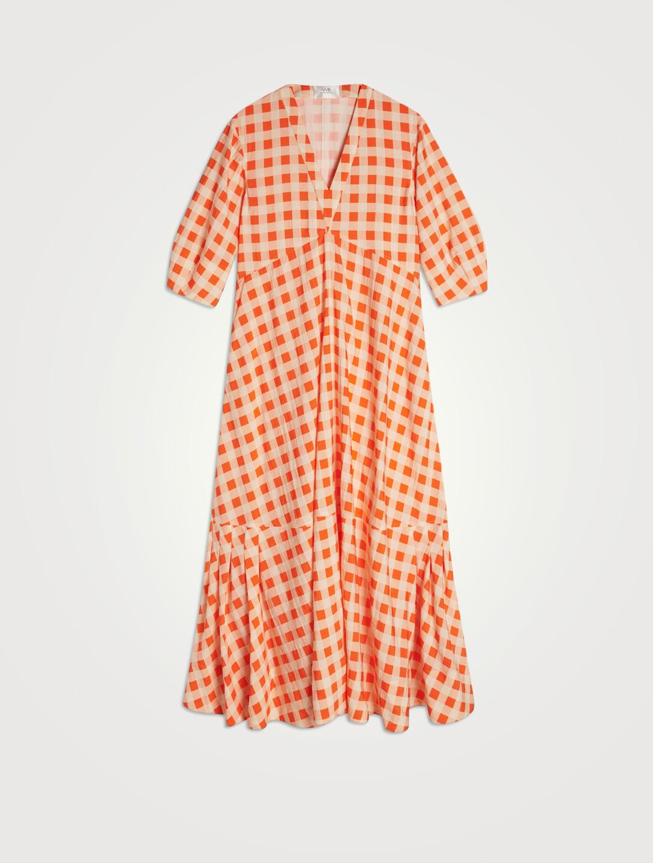 VICTORIA VICTORIA BECKHAM Bell-Sleeve Maxi Dress In Gingham Print Women's Orange