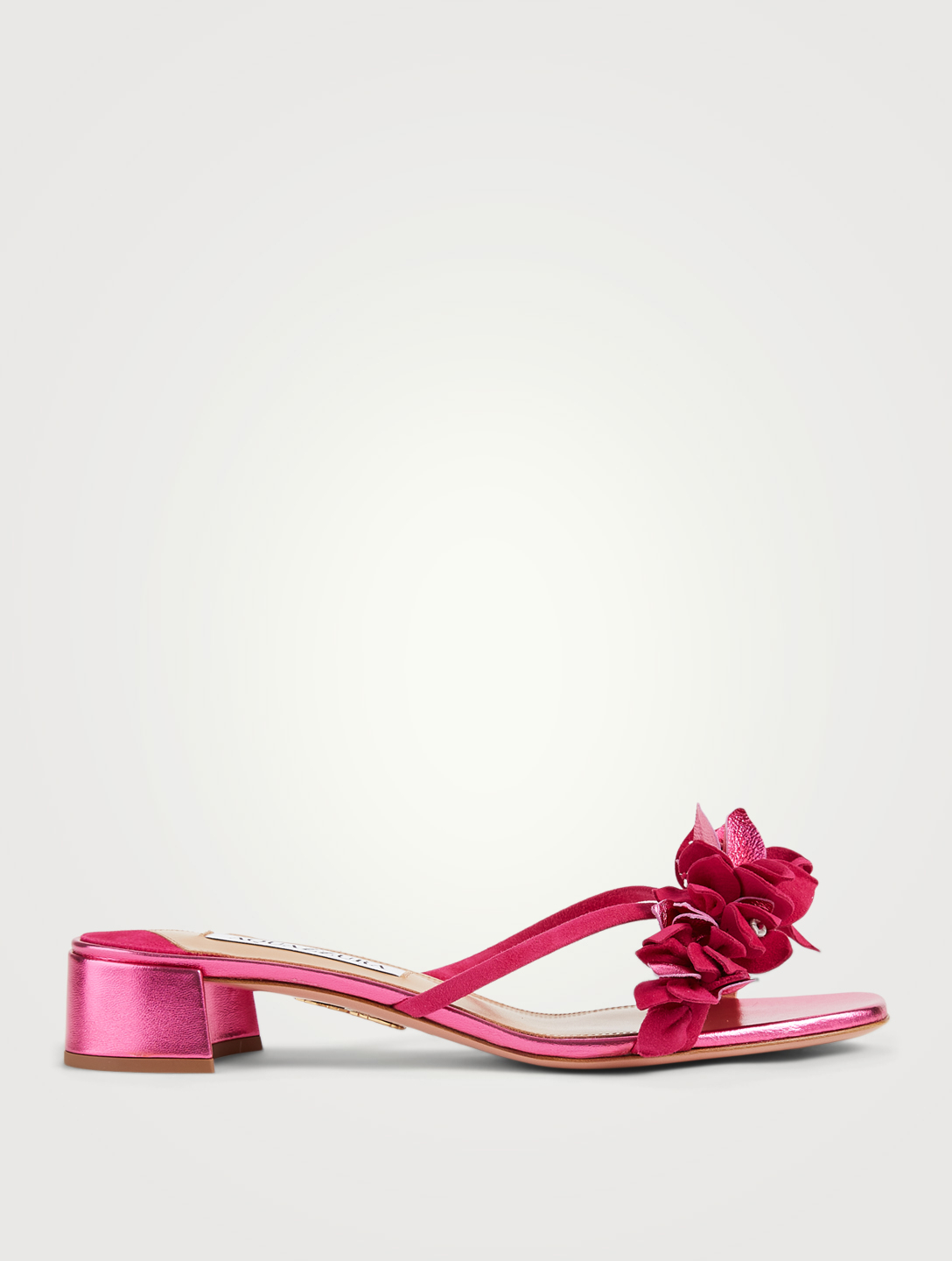AQUAZZURA Bougainvillea Metallic Leather And Suede Heeled Slide Sandals Women's Pink