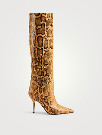 PARIS TEXAS Mama Wide Leather Heeled Knee-High Boots In Python Print Women's Brown