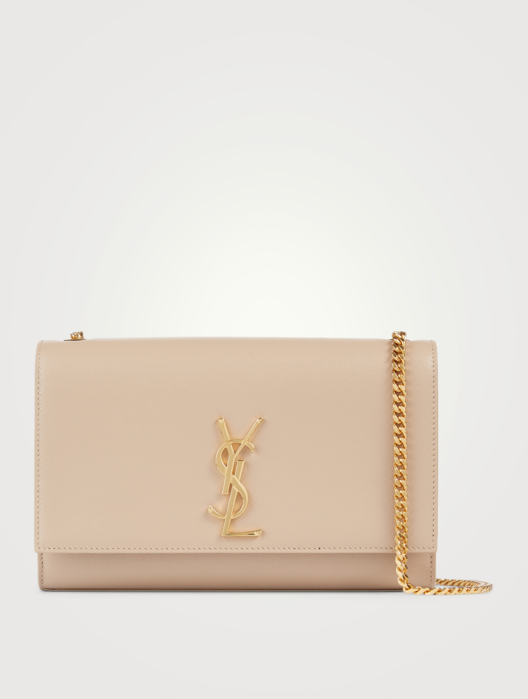 SAINT LAURENT Medium Kate YSL Monogram Leather Chain Bag Women's Beige