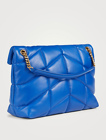 SAINT LAURENT Small Loulou YSL Monogram Leather Puffer Chain Bag Women's Blue