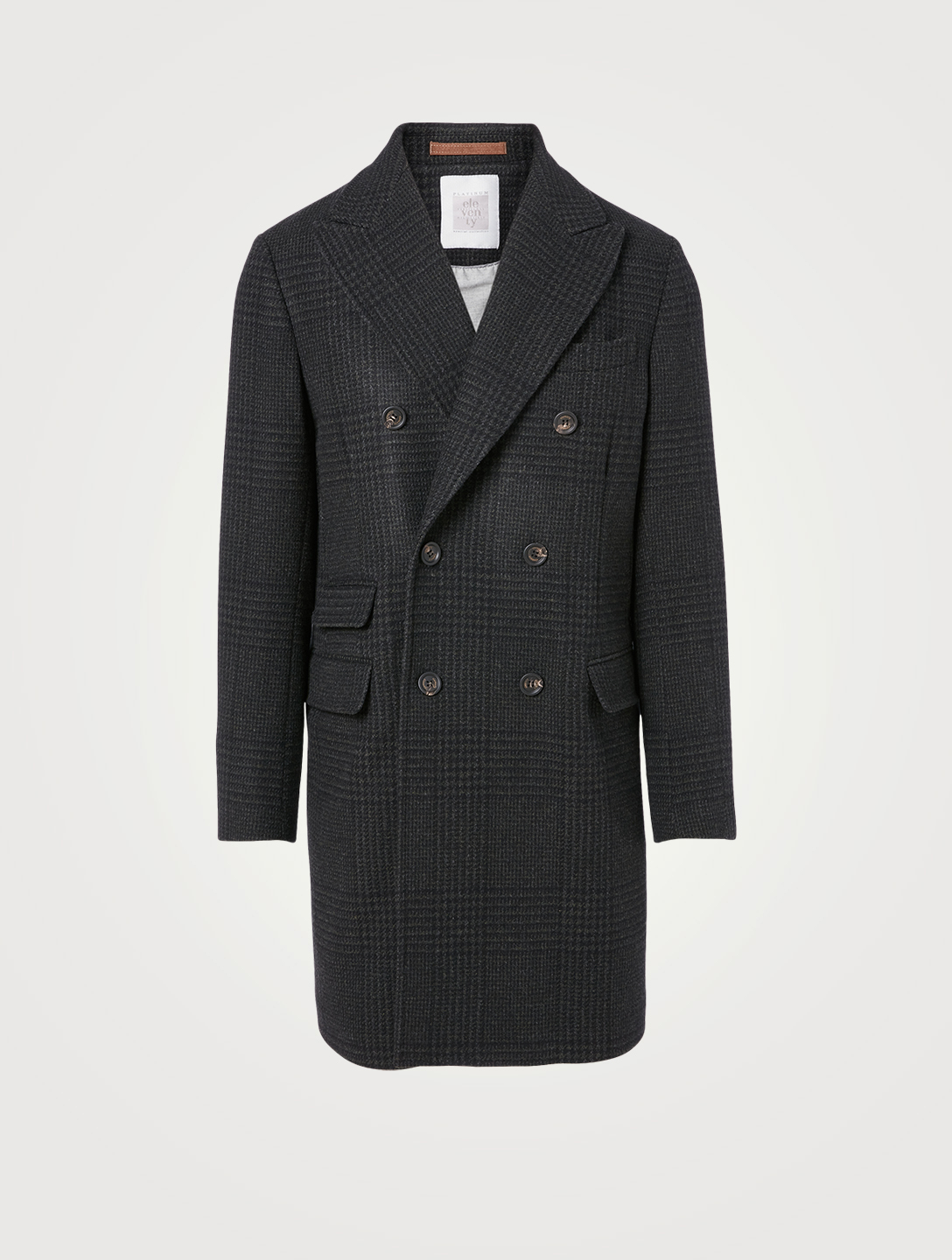ELEVENTY Wool And Alpaca Double-Breasted Coat In Check Print Men's Grey