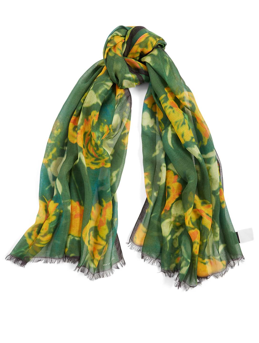 DRIES VAN NOTEN Silk And Modal Scarf In Floral Print Women's Green