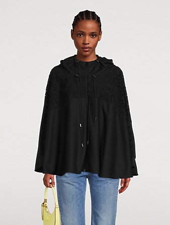 VALENTINO Jersey And Macramé Oversize Sweatshirt Women's Black