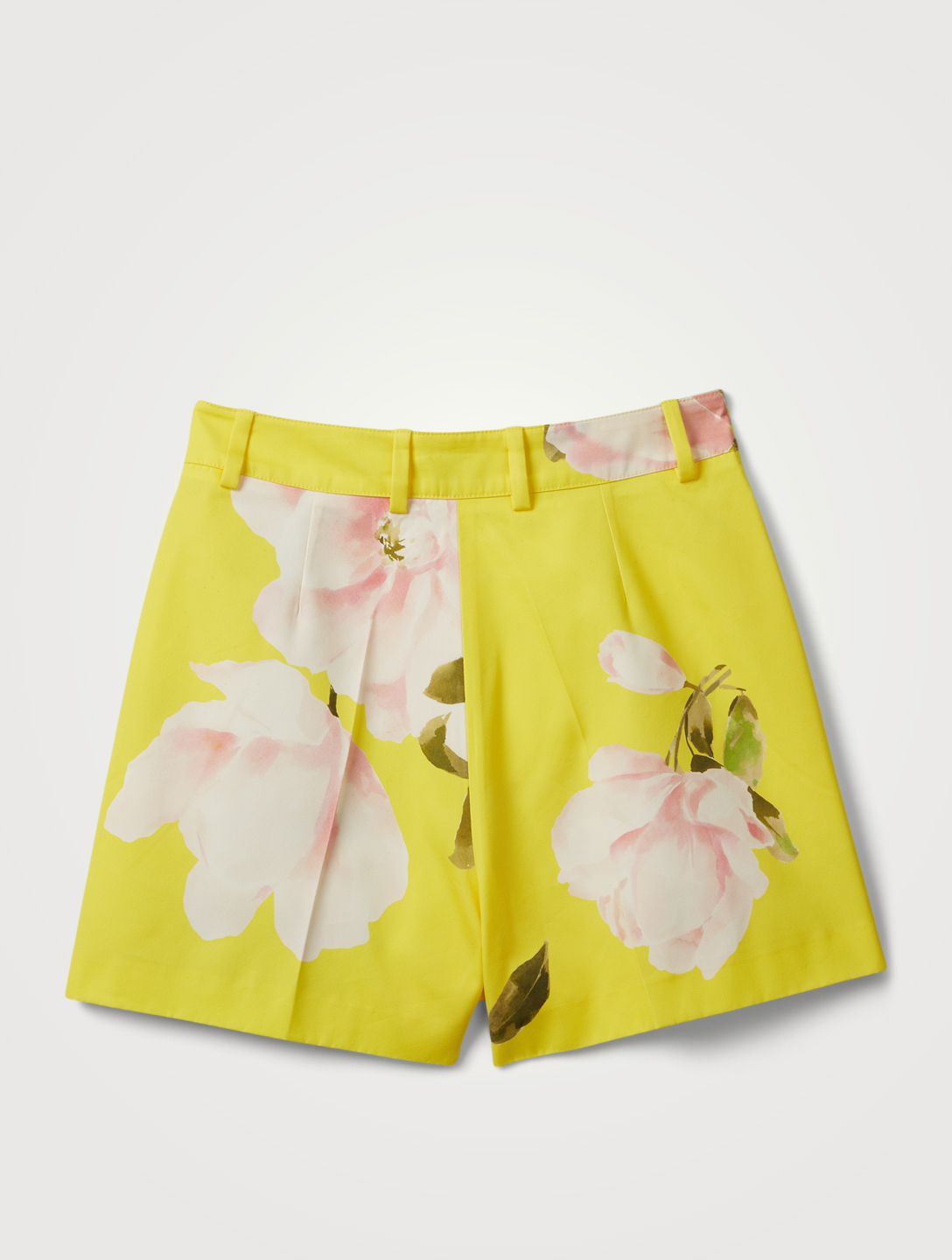 VALENTINO Cotton And Silk Shorts In Floral Print Women's Yellow