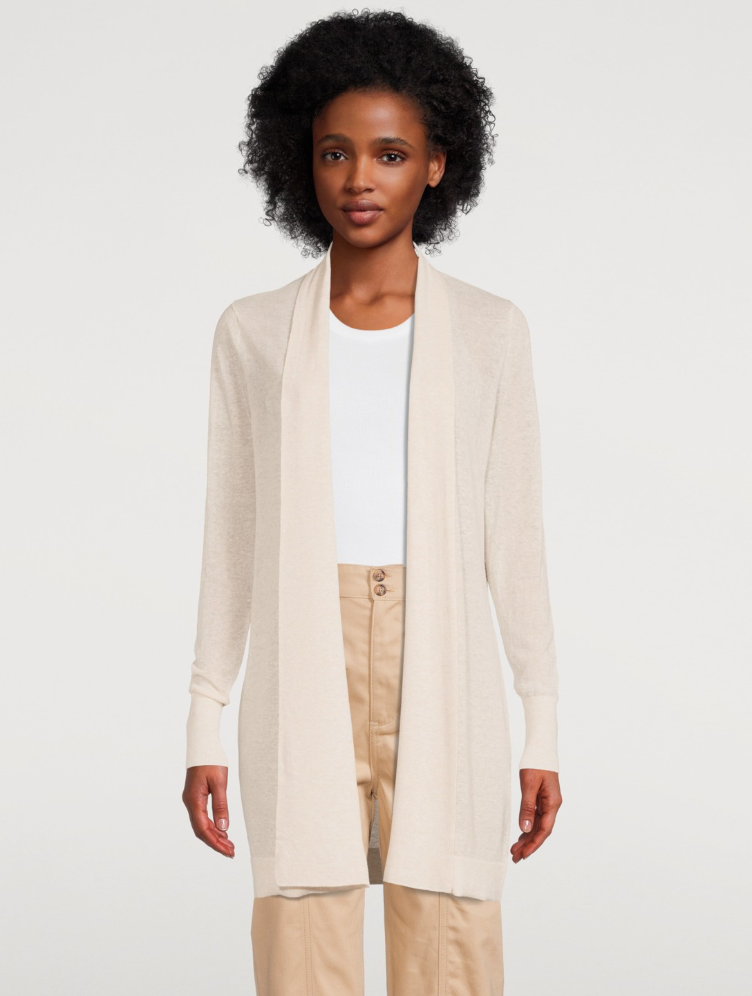 WHITE + WARREN Cotton And Linen Open Cardigan Women's Beige