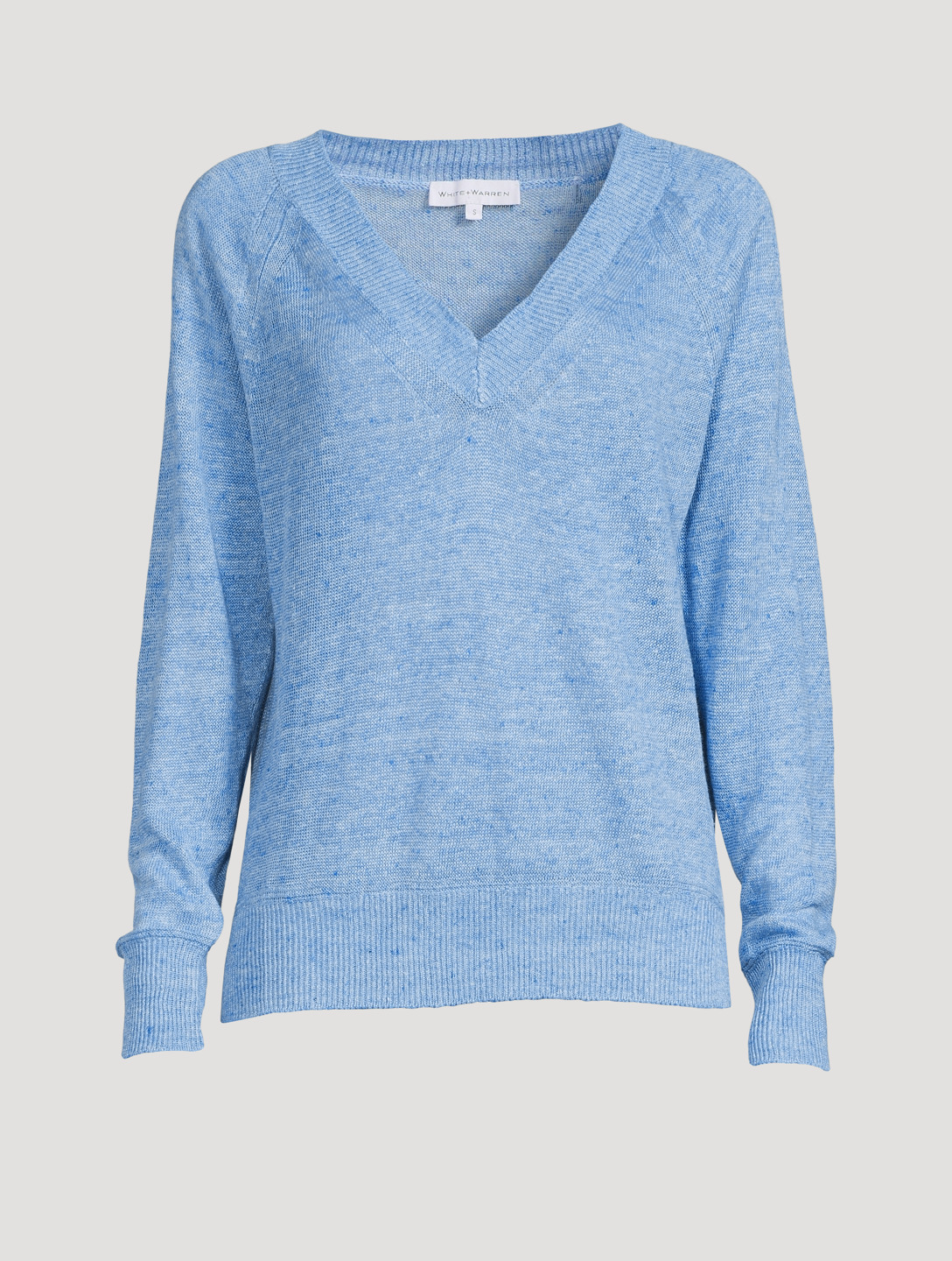 WHITE + WARREN Linen V-Neck Sweater Women's Blue
