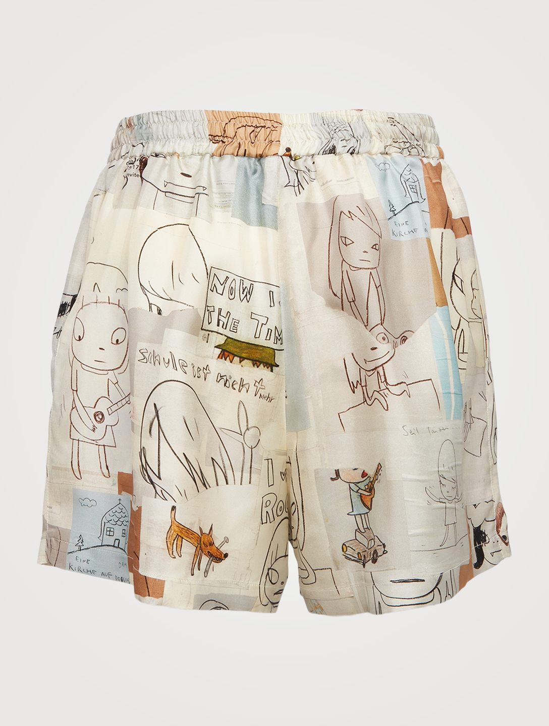 STELLA MCCARTNEY Yoshitomo Nara Timothy Silk Shorts Women's Beige