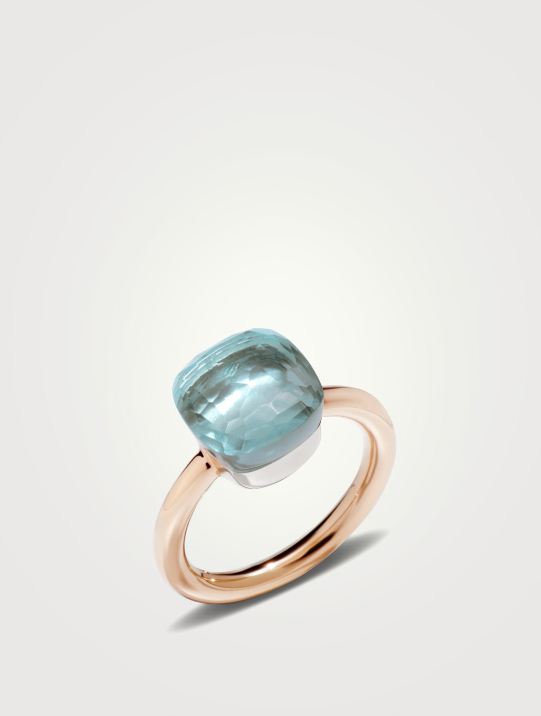 POMELLATO Classic Nudo 18K White And Rose Gold Ring With Sky Blue Topaz Women's Metallic