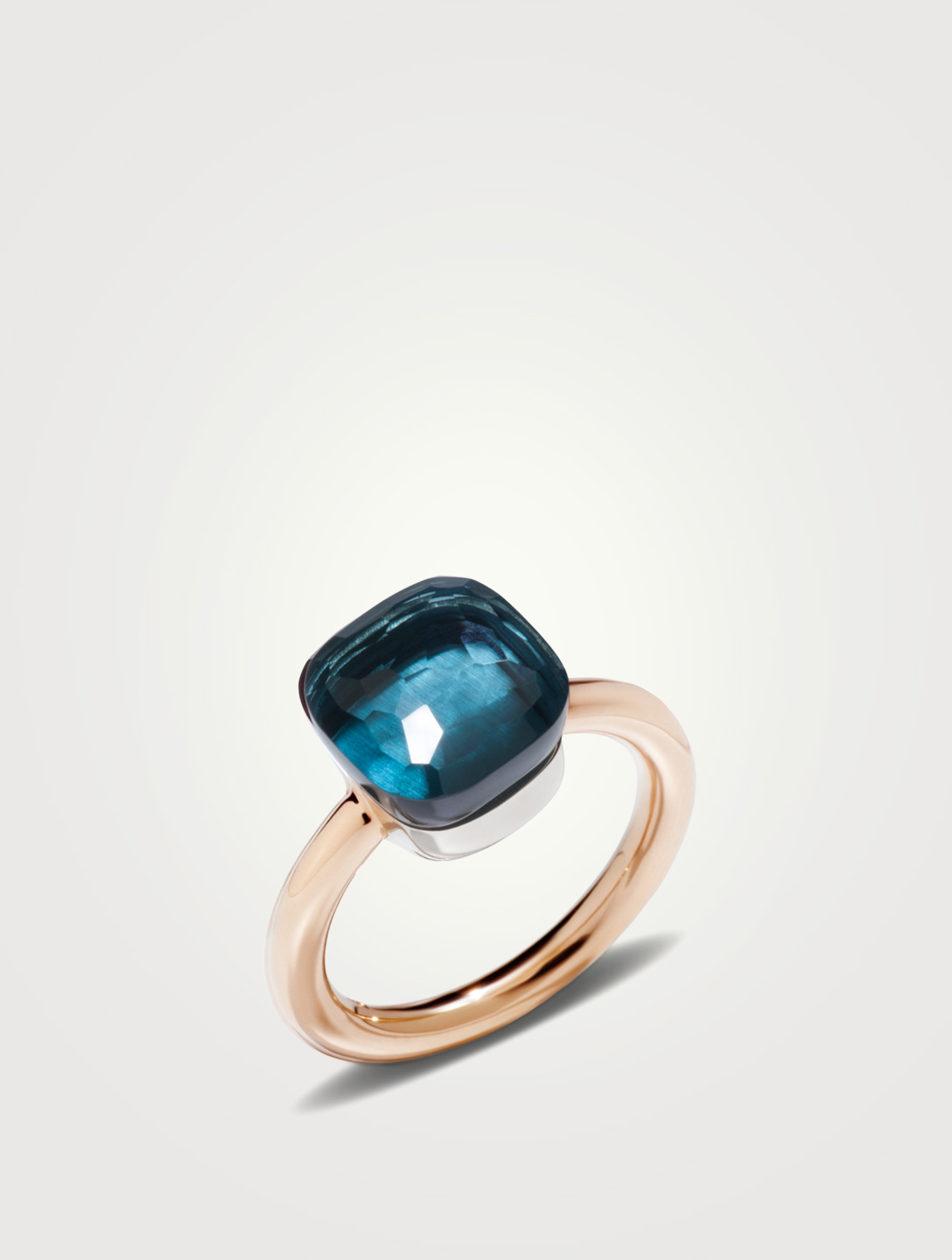 POMELLATO Classic Nudo 18K White And Rose Gold Ring With London Blue Topaz Women's Metallic