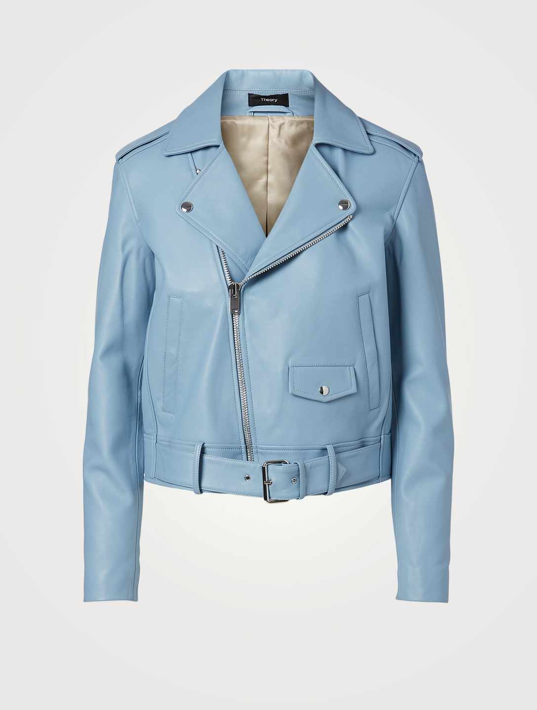 THEORY Leather Moto Jacket Women's Blue