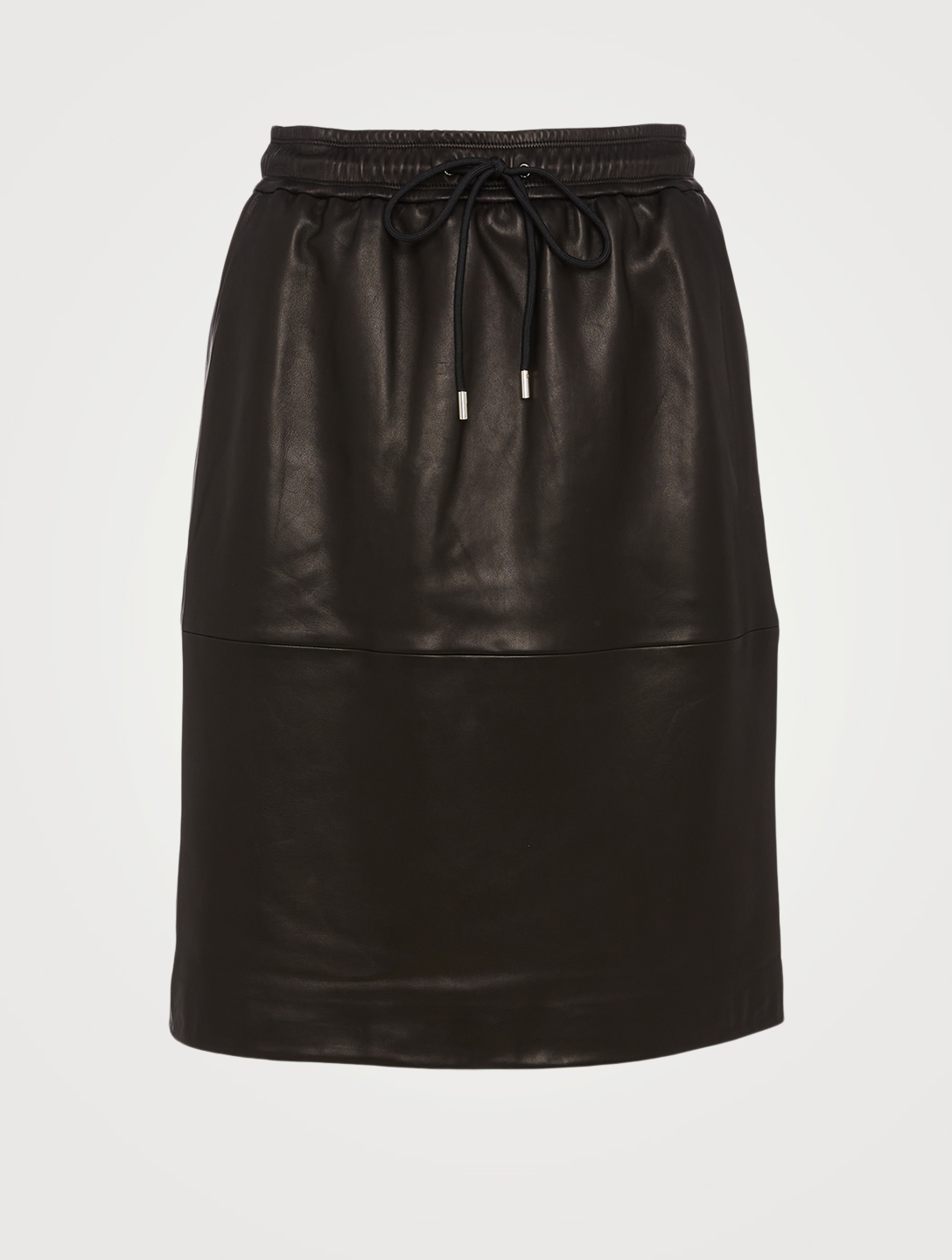 THEORY Leather Drawstring Skirt Women's Black