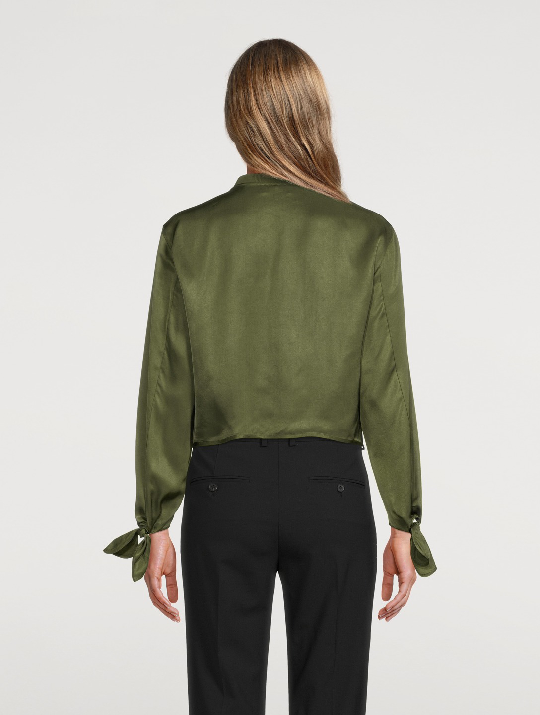 THEORY Viscose Twill Tied-Sleeve Bomber Jacket Women's Green