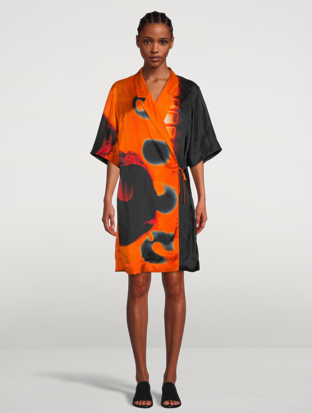 DRIES VAN NOTEN Calta Short-Sleeve Wrap Dress Women's Orange