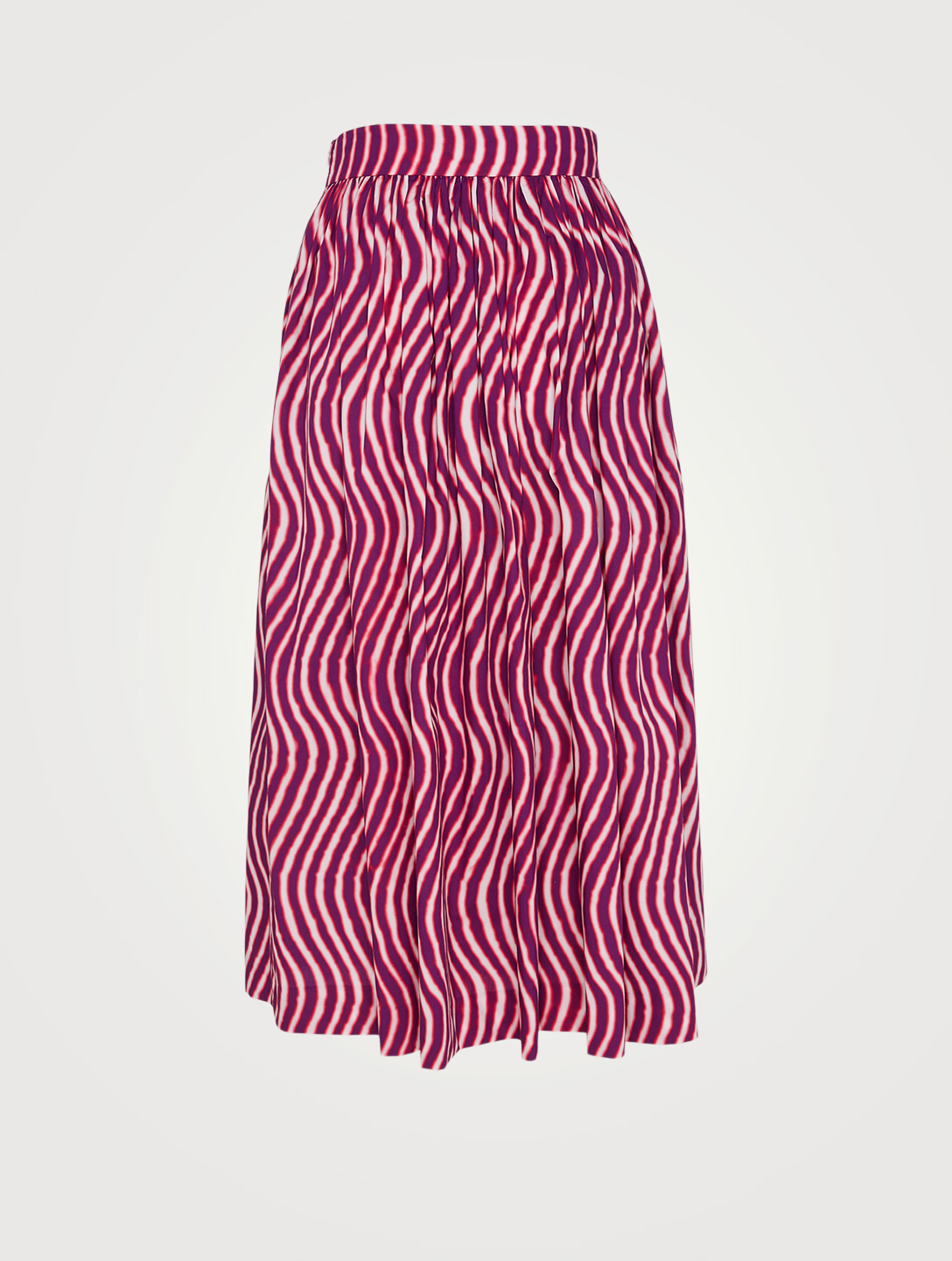 DRIES VAN NOTEN Sita Cotton Midi Skirt In Wave Print Women's Pink