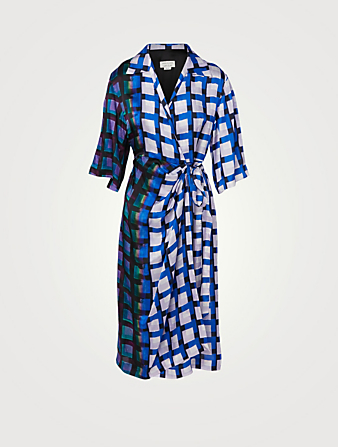 DRIES VAN NOTEN Dakola Midi Wrap Dress In Check Print Women's Blue