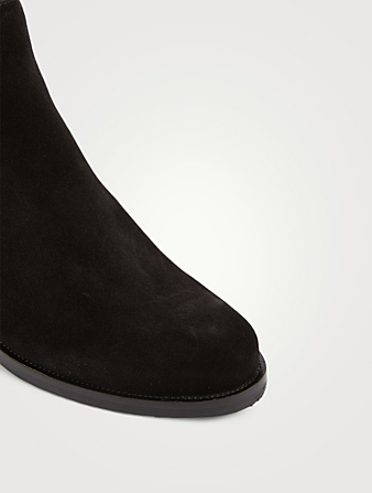 LA CANADIENNE Presley Suede Heeled Ankle Boots Women's Black