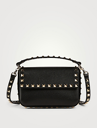 VALENTINO GARAVANI Mini Rockstud Leather Top Handle Pouch Bag Women's Black