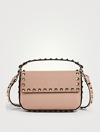 VALENTINO GARAVANI Mini Rockstud Leather Top Handle Pouch Bag Women's Pink
