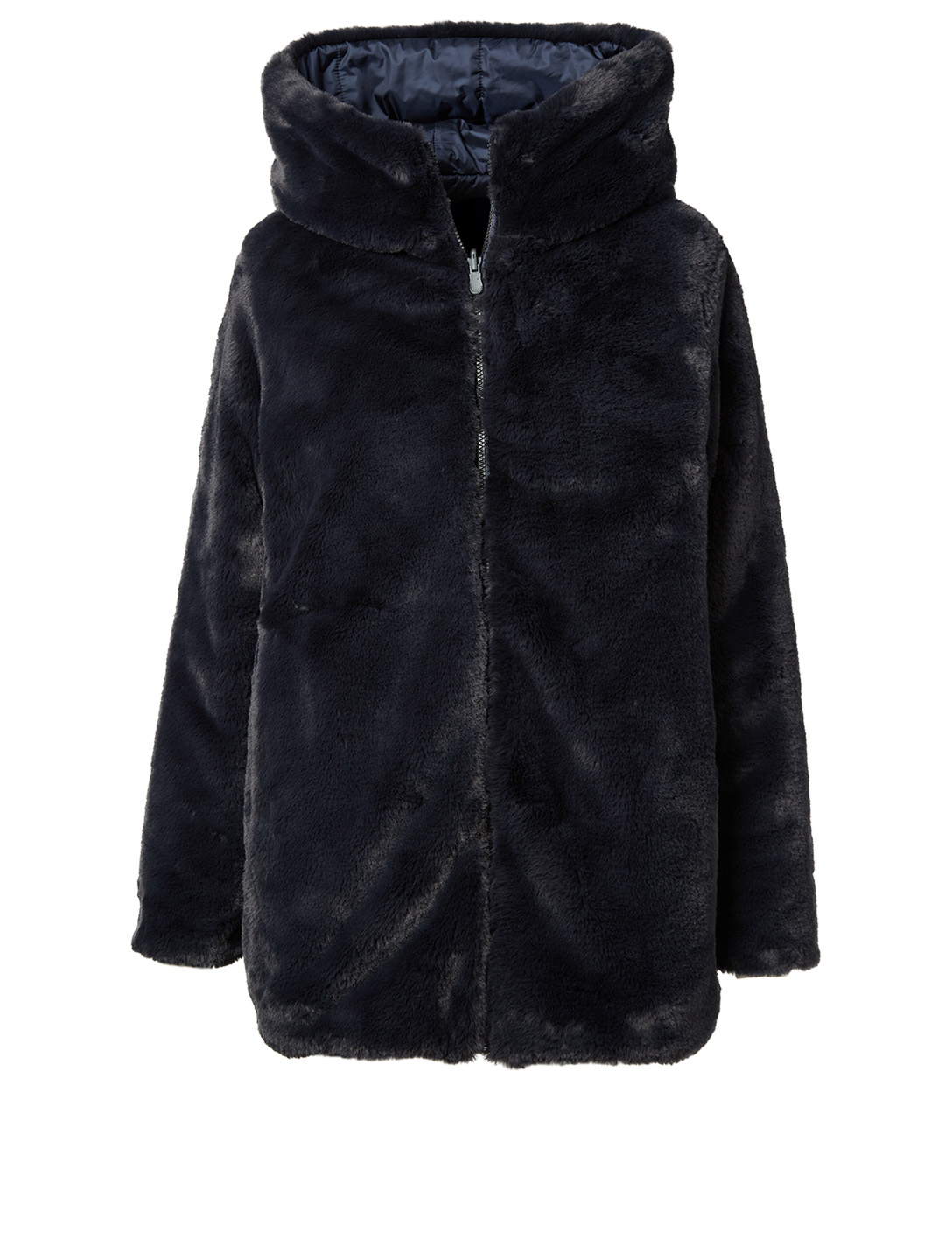 SAVE THE DUCK Fury Faux Fur Midi Reversible Coat With Hood Women's Black