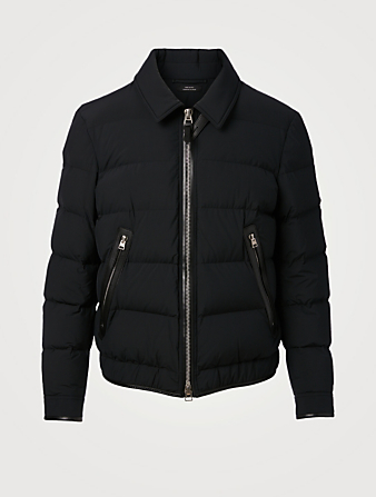 TOM FORD Down Quilted Blouson Jacket With Leather Detail Men's Black