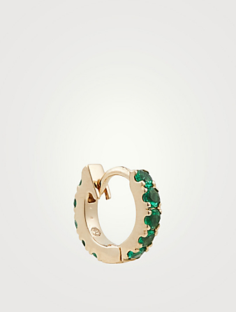 YI COLLECTION 14K Gold Huggie Earring With Emeralds Women's Metallic