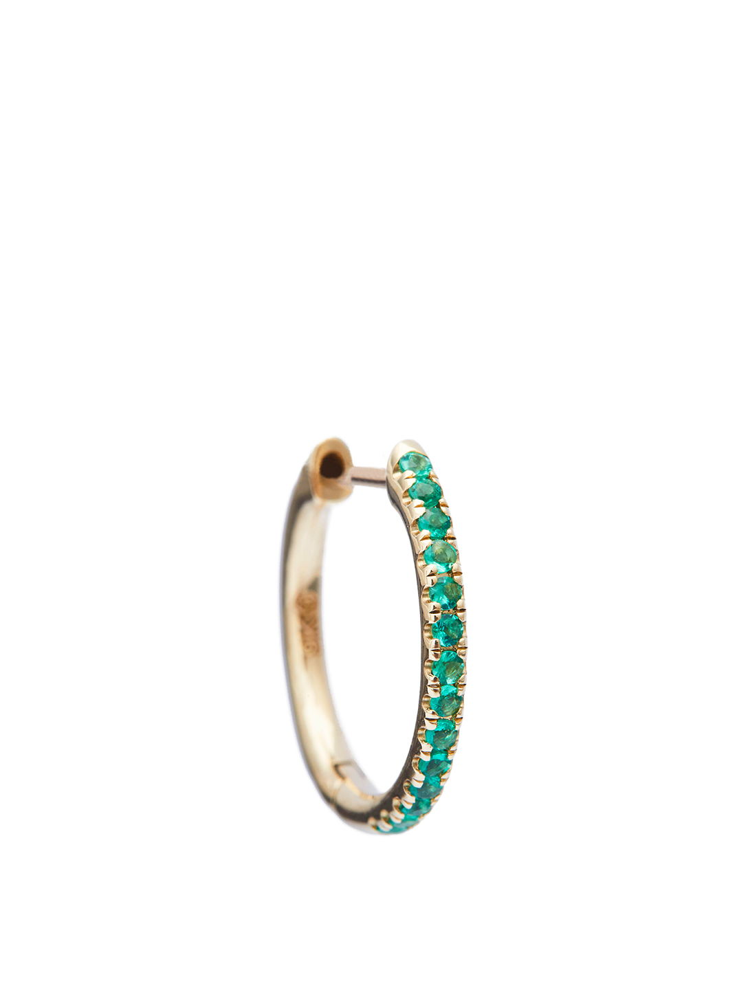 YI COLLECTION 14K Gold Hoop Earring With Emeralds Women's Metallic