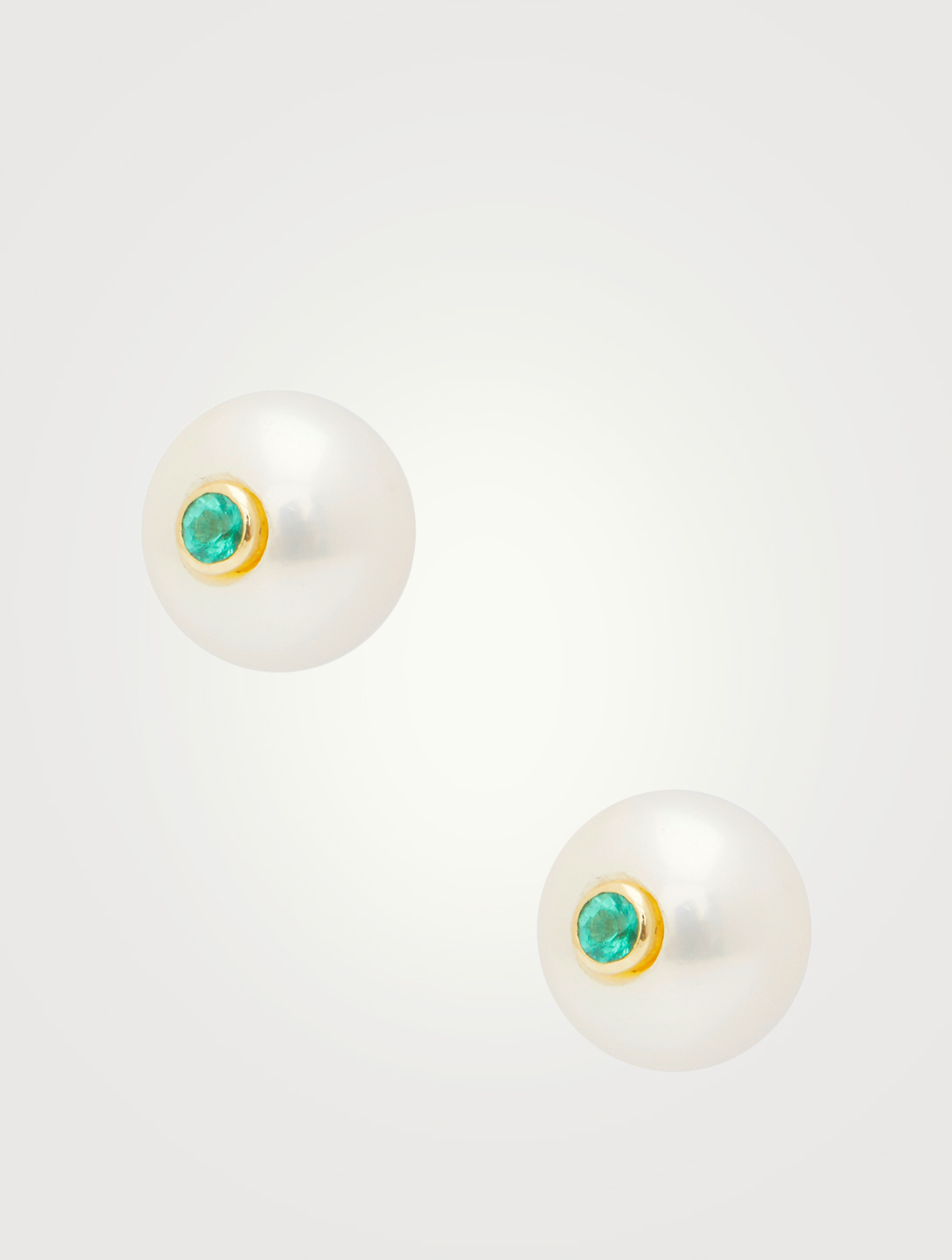 YI COLLECTION 14K Gold Pearl Stud Earrings With Emeralds Women's Metallic