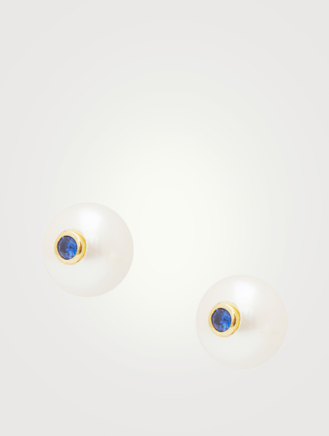 YI COLLECTION 14K Gold Pearl Stud Earrings With Blue Sapphire Women's Metallic