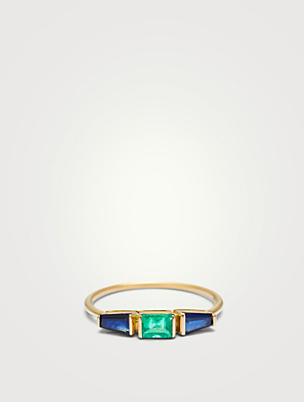 YI COLLECTION 18K Gold Triplet Ring With Blue Sapphire And Emerald Women's Metallic