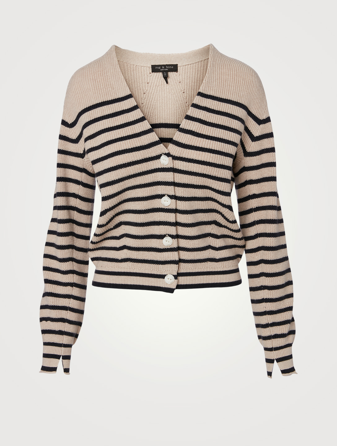 RAG & BONE Ann Cotton And Cashmere Cardigan In Striped Print Women's Neutral