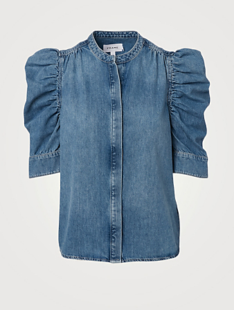 FRAME Gillian Denim Top Women's Blue
