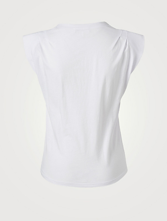 FRAME Padded Shoulder V-Neck T-Shirt Women's White
