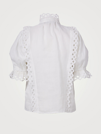 FRAME Embroidered High-Neck Top Women's White