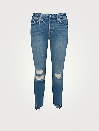 FRAME Le High Skinny Crop Jeans With Release Stagger Hem Women's Blue